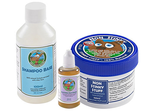 Dog Non Stinky Trial Pack + Ear Stuff by Stinky Stuff -  Rub, shampoo, feed supplement + ear drops for itchy dogs