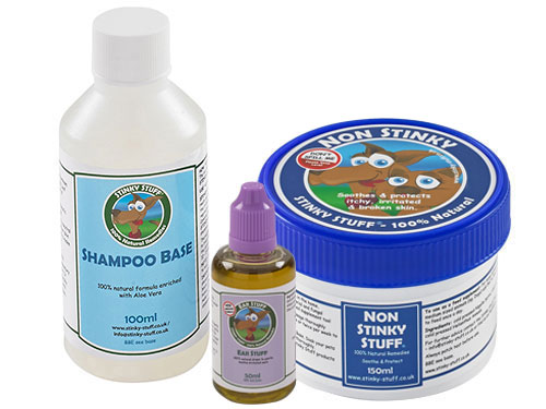 Dog Non Stinky Trial Pack + Ear Stuff -  Rub, shampoo, feed supplement + ear drops for itchy dogs