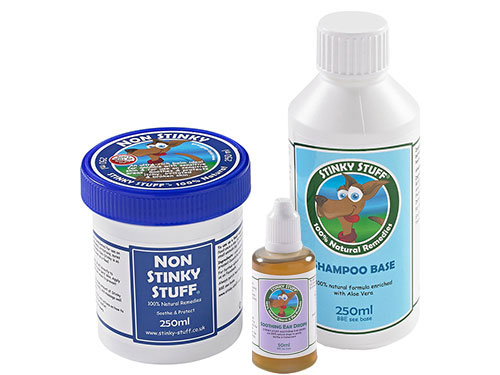 Dog Non Stinky Pack + Ear Stuff by Stinky Stuff - Rub, shampoo, feed supplement and ear drops for itchy dogs